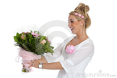 Pretty young girl getting flowers
