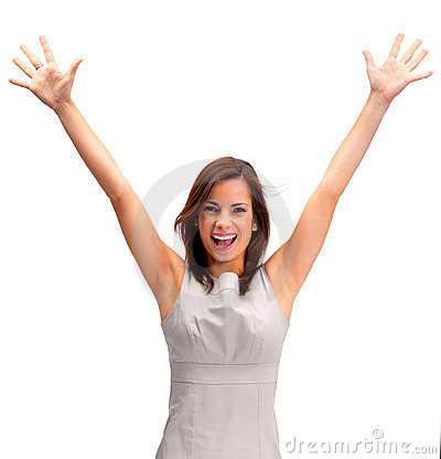 Pretty young girl with hands raised on white