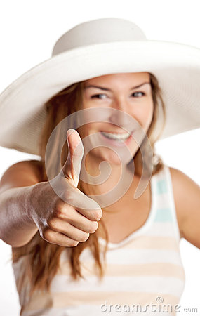 Pretty young girl showing thumb up sign