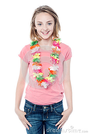Pretty young girl wearing garland