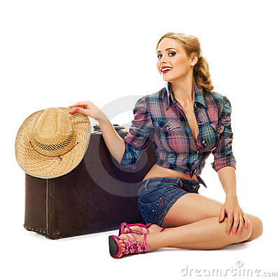 Free Pretty Young Happy Woman With Travel Bag And Hat Stock Images - 23768114
