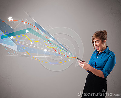 Pretty young lady holding a phone with colorful abstract lines