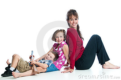 Pretty young mother with her two children