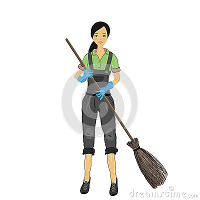 A pretty young woman with a broom in his hand.