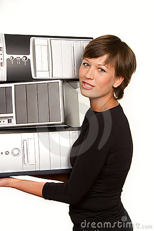 Pretty young woman carrying computers