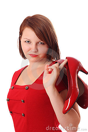 Free Pretty Young Woman Holding Bright Red Shoes Royalty Free Stock Photography - 16201057