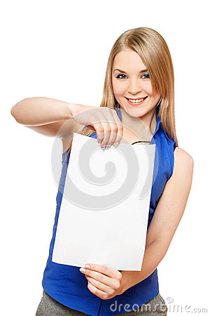 Pretty young woman holding empty white board