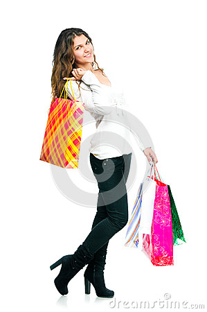 Pretty Young Woman Holding Shopping Bags Stock Photography - Image: 28046652