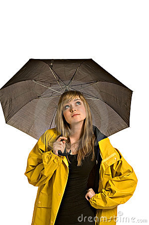Free Pretty Young Woman In A Raincoat With Umbrella Stock Photo - 5376190