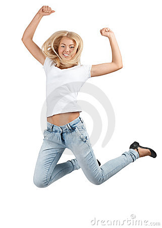 Pretty young woman jumping in air