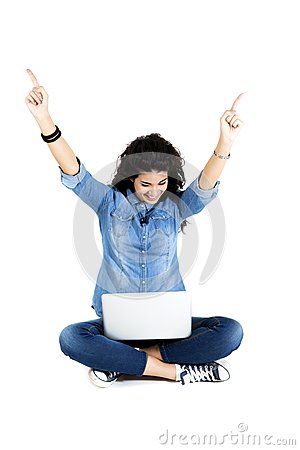 Pretty young woman with laptop