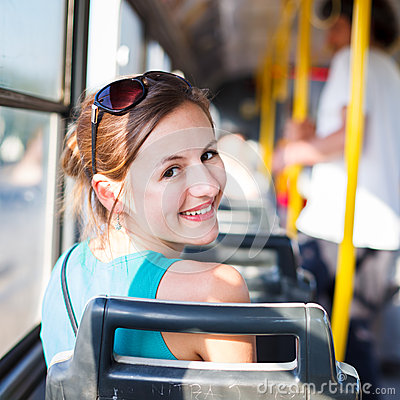 Free Pretty, Young Woman On A Streetcar/tramway Royalty Free Stock Photo - 29042465