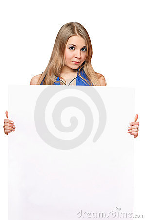 Pretty young woman posing with white board
