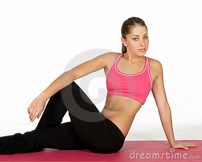 Pretty Young Woman in Yoga Pose