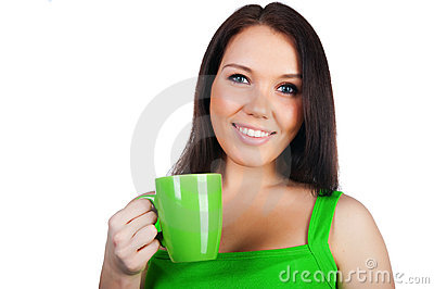 Pretty young women with the cup of tea