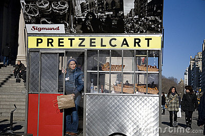 Pretzel Cart in NYC Editorial Image