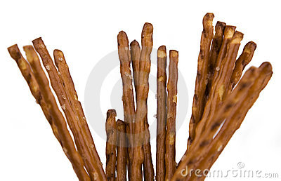 Pretzel sticks isolated