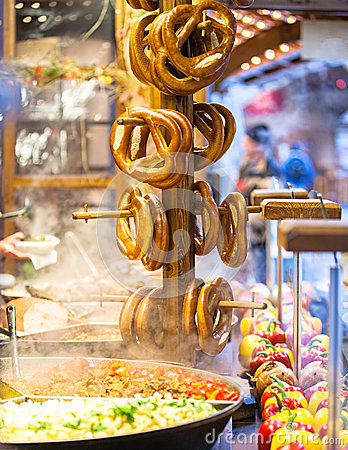 Free Pretzels And Food At German Christmas Market Royalty Free Stock Images - 36161379