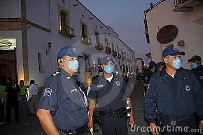 Preventing swine flu at Mexico Editorial Stock Photo
