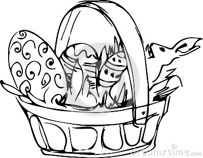 Preview basket with painted easter eggs