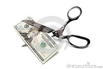 Price Cut Twenty Dollar Bill with Scissors