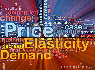 Price elasticity background concept glowing