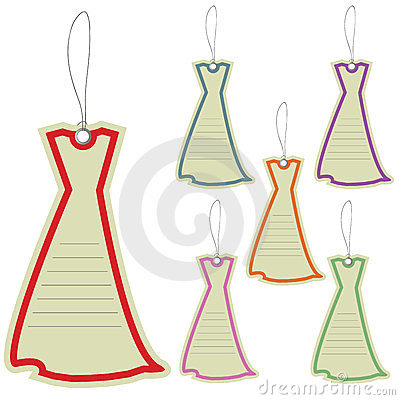 Price label tag of dresses