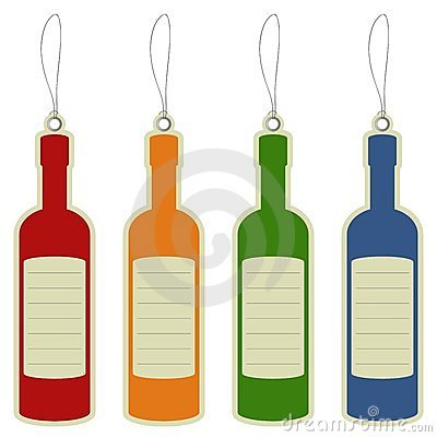 Price label tag wine bottle