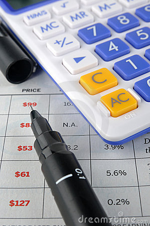 Price sheet, account pen and calculator