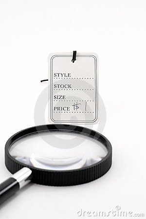 Price tag and magnifier
