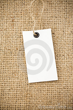 Price tag and sack burlap background