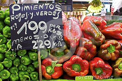 Price tags on a pepper market stall