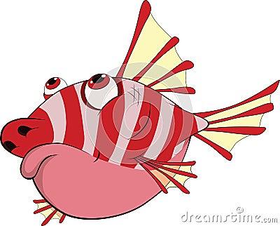Prickly coral small fish. Cartoon