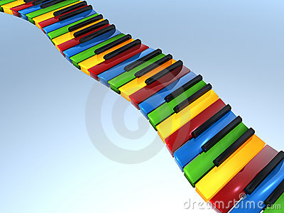 Primary color piano keyboard