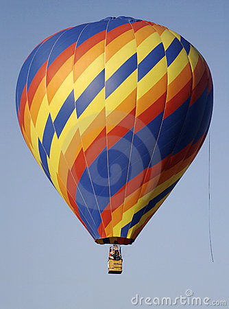 A primary color zig-zag spiral hot air balloon