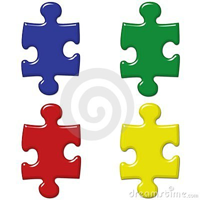 Primary Colored Puzzle Pieces