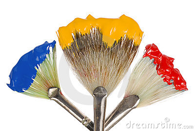Primary Colors on fan brushes