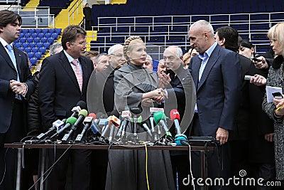 Prime-minister, Yuliya Timoshenko visit Metalist Editorial Image
