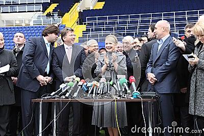 Prime-minister, Yuliya Timoshenko visit Metalist Editorial Photography