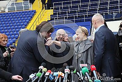 Prime-minister, Yuliya Timoshenko visit Metalist Editorial Stock Image