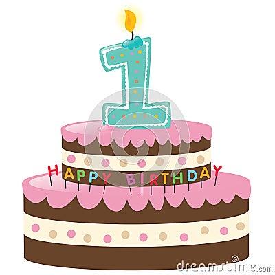 Imagens de Stock Royalty Free: Primeiro bolo de aniversário feliz. Imagem: 9945709