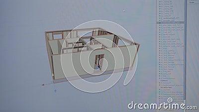 Primer de la pantalla de monitor con el proyecto casero existencias El proyecto de la casa se muestra paso a paso en programa grá metrajes