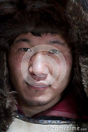 Primer de un guerrero mongol Fotografía editorial