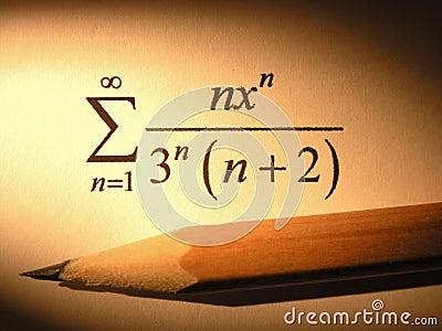 Primer de una ecuación con un lápiz
