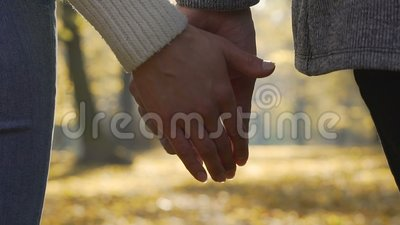 Primer del novio y de la novia que se abrochan manos en la cámara lenta metrajes