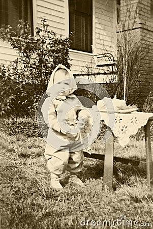 Primo compleanno del retro bambino