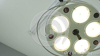 Primo piano chirurgico incluso della lampada video d archivio