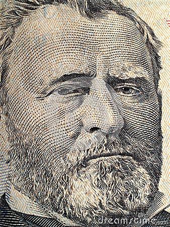 Primo piano del ritratto di Grant sugli Stati Uniti cinquanta dollari