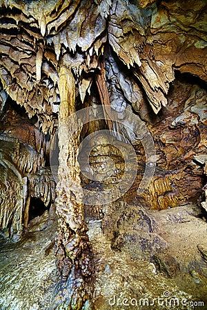 Primo piano delle stalattiti e delle stalagmite
