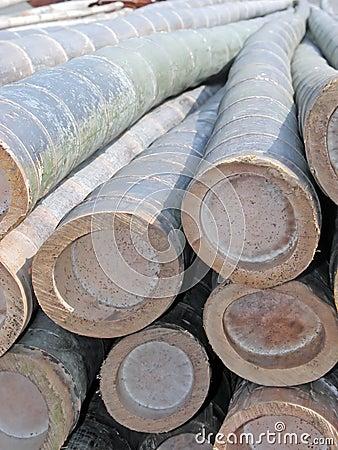 Primo piano di bambù delle travi